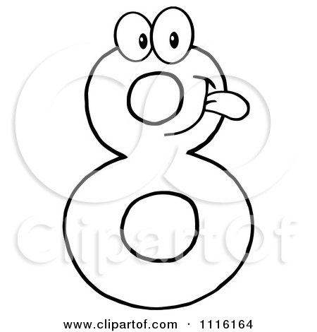 Clipart Happy Purple Number Eight Talking 1