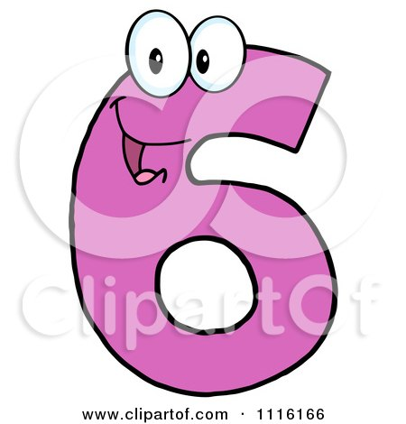 Clipart Happy Pink Number Six - Royalty Free Vector Illustration by Hit Toon