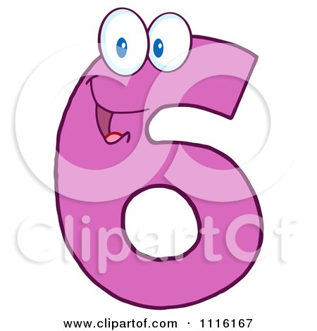Clipart Happy Pink Number 6 - Royalty Free Vector Illustration by Hit Toon