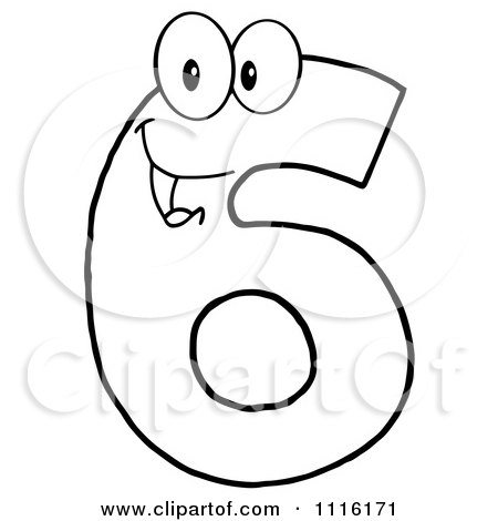 Clipart Happy Outlined Number Six - Royalty Free Vector Illustration by Hit Toon