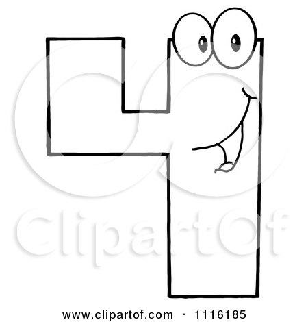 Clipart Happy Outlined Number Four - Royalty Free Vector Illustration by Hit Toon