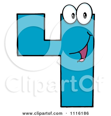 Clipart Happy Blue Number Four 1 - Royalty Free Vector Illustration by Hit Toon