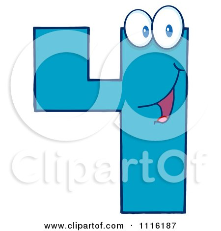 Clipart Happy Blue Number Four 2 - Royalty Free Vector Illustration by Hit Toon