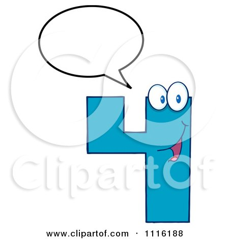 Clipart Happy Blue Number Four Talking 3 - Royalty Free Vector Illustration by Hit Toon