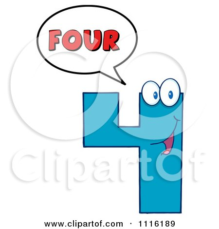 Clipart Happy Blue Number Four Talking 1 - Royalty Free Vector Illustration by Hit Toon