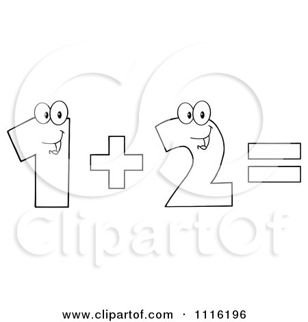 Clipart Happy Outlined Numbers One Plus Two Equals - Royalty Free Vector Illustration by Hit Toon