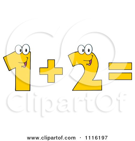 Clipart Happy Numbers One Plus Two Equals - Royalty Free Vector Illustration by Hit Toon
