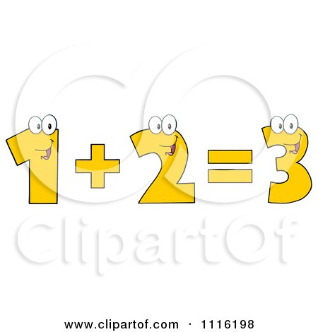 Clipart Happy Numbers One Plus Two Equals Three - Royalty Free Vector Illustration by Hit Toon