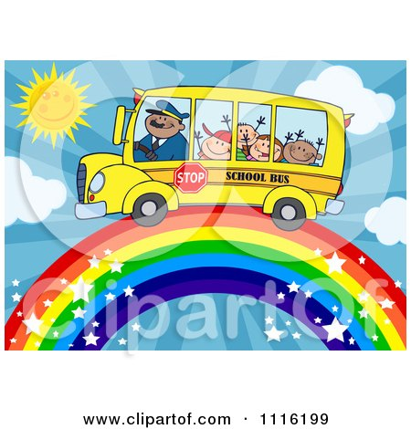 Clipart Happy School Bus Driver And Children On A Rainbow - Royalty Free Vector Illustration by Hit Toon