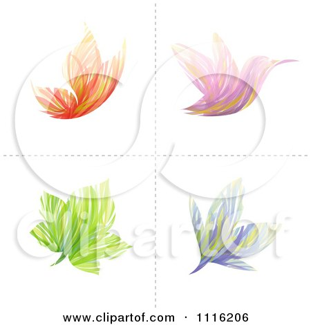 Clipart Abstract Butterfly Bird Flower And Leaf Icons - Royalty Free Vector Illustration by elena