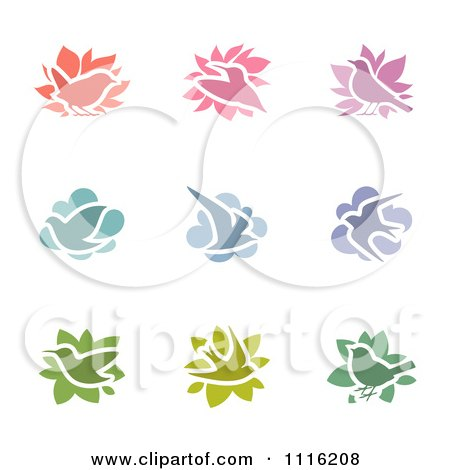 Clipart Colorful Bird Icons Royalty Free Vector Illustration