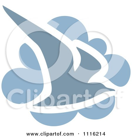 Clipart Blue Seagull Bird And Cloud Icon - Royalty Free Vector Illustration by elena