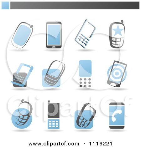 Clipart Blue And Gray Cell Phone Icons - Royalty Free Vector Illustration by elena
