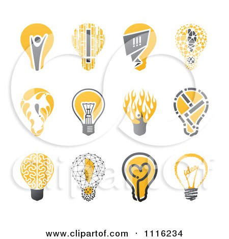 Creative Yellow And Black Lightbulb Icons Posters, Art Prints