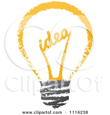 Clipart Sketched Idea Filament In A Light Bulb - Royalty Free Vector Illustration by elena
