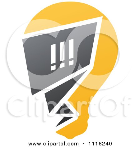 Clipart Exclamation Point Chat Window In A Light Bulb - Royalty Free Vector Illustration by elena