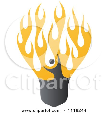 Clipart Person Filament In A Fiery Light Bulb - Royalty Free Vector Illustration by elena