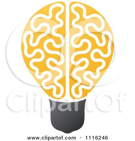 Clipart Yellow Brain Light Bulb - Royalty Free Vector Illustration by elena