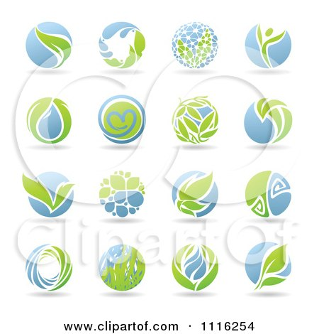 Clipart Round Green And Blue Organic Leaf Icons - Royalty Free Vector Illustration by elena