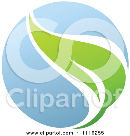 Clipart Green And Blue Natural Organic Sphere And Leaf 1 - Royalty Free Vector Illustration by elena
