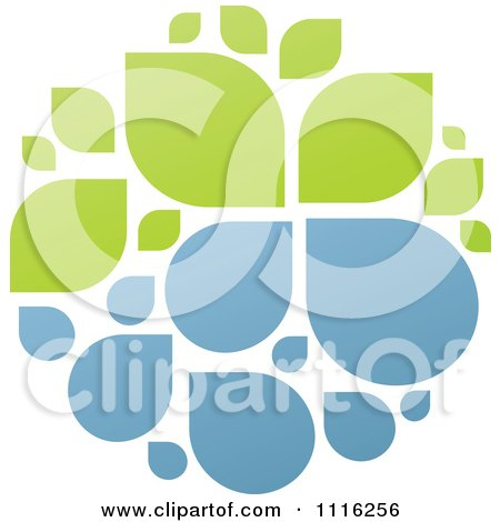Clipart Green And Blue Natural Organic Sphere Of Water Droplets And Leaves - Royalty Free Vector Illustration by elena