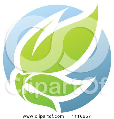Clipart Green And Blue Natural Organic Sphere And Leaves 3 - Royalty Free Vector Illustration by elena