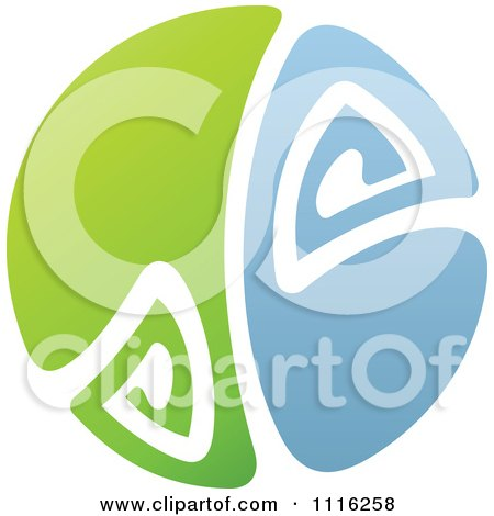 Clipart Green And Blue Natural Organic Sphere Water Splash And Leaf Curve - Royalty Free Vector Illustration by elena