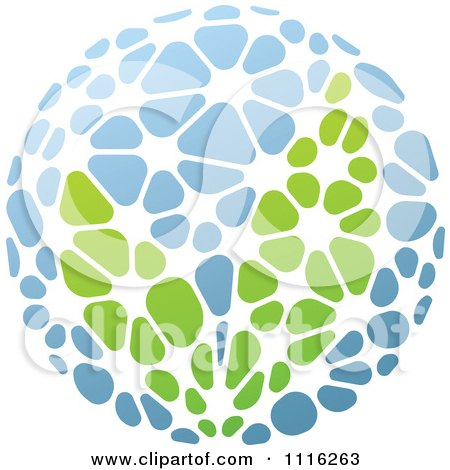 Clipart Green And Blue Natural Organic Sphere And Leaves 5 - Royalty Free Vector Illustration by elena