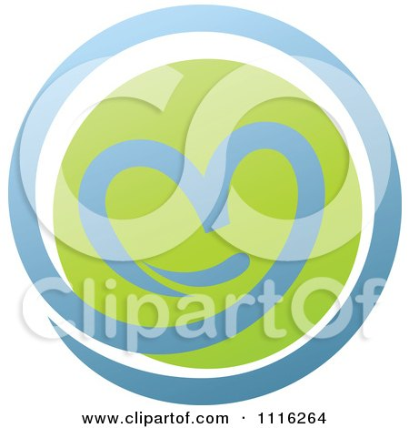 Clipart Green And Blue Natural Organic Heart Sphere - Royalty Free Vector Illustration by elena
