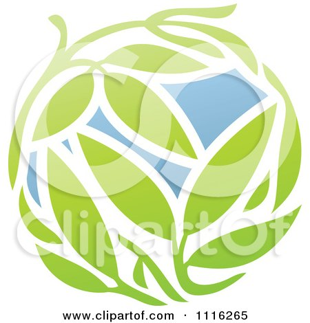 Clipart Green And Blue Natural Organic Sphere And Leaves 1 - Royalty Free Vector Illustration by elena
