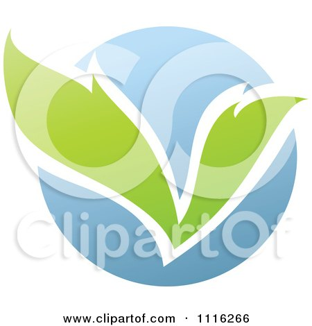 Clipart Green And Blue Natural Organic Sphere And Leaves 2 - Royalty Free Vector Illustration by elena