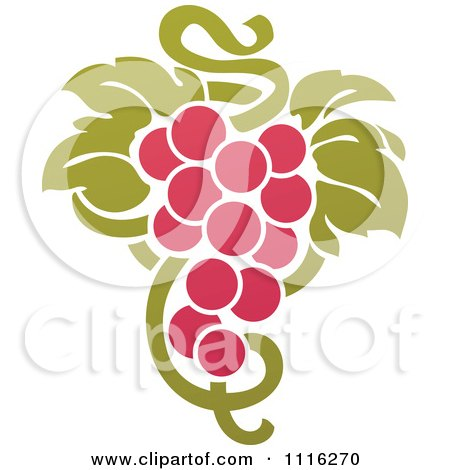 Clipart Purple Grapes And Leaves Wine Icon 3 - Royalty Free Vector Illustration by elena