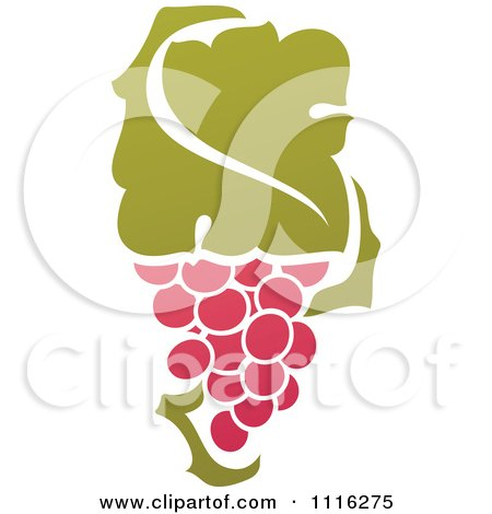 Clipart Purple Grapes And Leaves Wine Icon 5 - Royalty Free Vector Illustration by elena