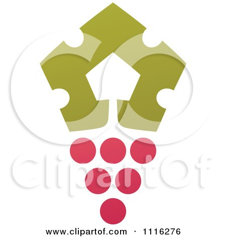 Clipart Purple Grapes And Leaves Wine Icon 6 - Royalty Free Vector Illustration by elena