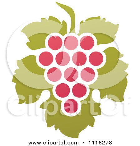 Clipart Purple Grapes And Leaves Wine Icon 8 - Royalty Free Vector Illustration by elena
