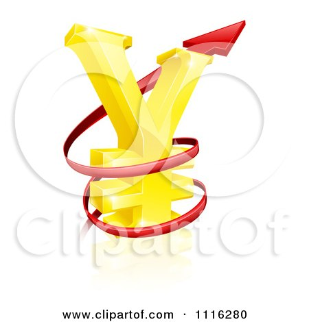 Clipart 3d Increase Spiraling Red Arrow Around A Golden Yen Currency Symbol - Royalty Free Vector Illustration by AtStockIllustration