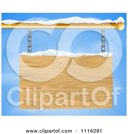 Clipart 3d Wooden Shingle Sign With Snow And Blue Sky - Royalty Free Vector Illustration by AtStockIllustration
