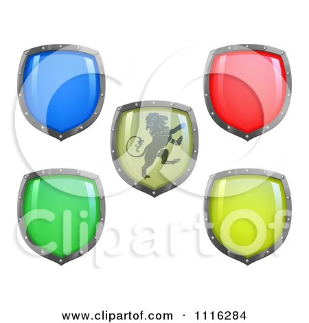 Clipart 3d Colorful And Shiny Shields One With A Lion - Royalty Free Vector Illustration by AtStockIllustration
