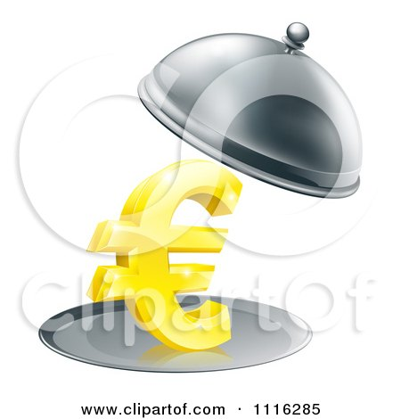 Clipart 3d Gold Euro Symbol On A Silver Platter Under A Cloche - Royalty Free Vector Illustration by AtStockIllustration