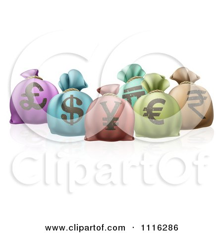 Clipart 3d Colorful Money Sacks With Currency Symbols - Royalty Free Vector Illustration by AtStockIllustration