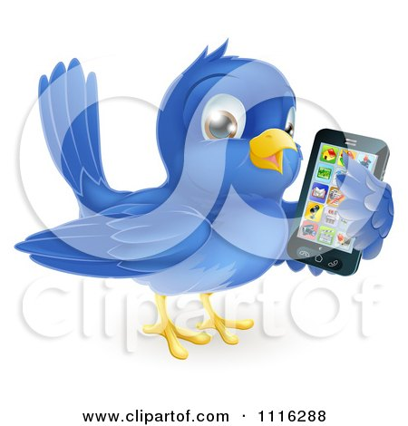 Clipart Cute Bluebird Holding A Cellphone With Apps On The Screen - Royalty Free Vector Illustration by AtStockIllustration
