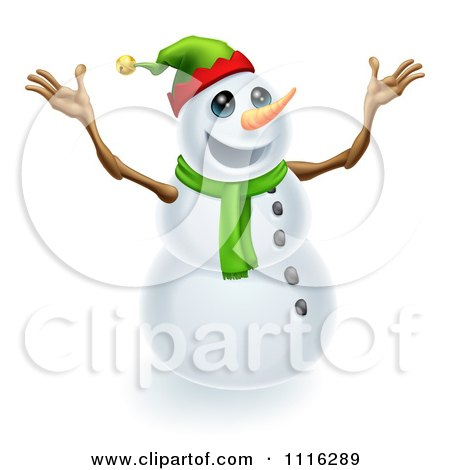 Clipart Excited Snowman Wearing A Christmas Elf Hat - Royalty Free Vector Illustration by AtStockIllustration