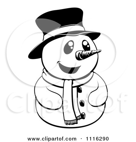 Clipart Happy Black And White Christmas Snowman With A Top Hat And ...