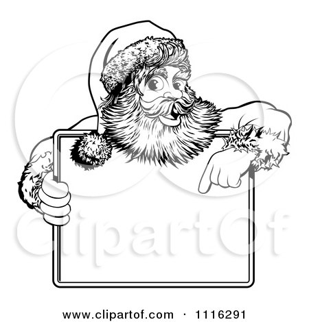 Clipart Black And White Santa Behind Holding And Pointing To A Sign - Royalty Free Vector Illustration by AtStockIllustration