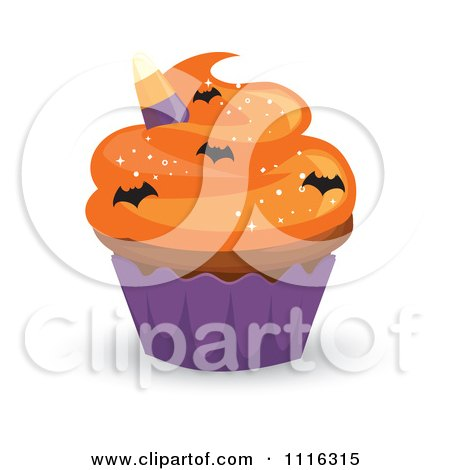 Halloween Cupcake With Orange Frosting A Purple Wrapper And Bat Sprinkles