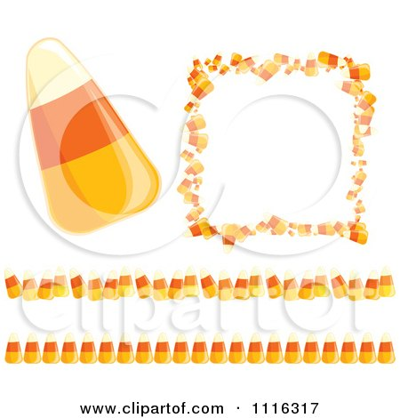Clipart Candy Corn Halloween Frame And Border Design Elements - Royalty Free Vector Illustration by Amanda Kate