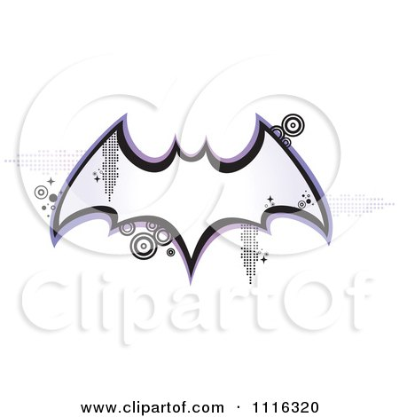 Clipart Retro Bat Frame With Pixels And Circles - Royalty Free Vector Illustration by Amanda Kate