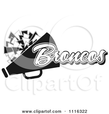 Clipart Black And White Broncos Cheerleader Design - Royalty Free Vector Illustration by Johnny Sajem