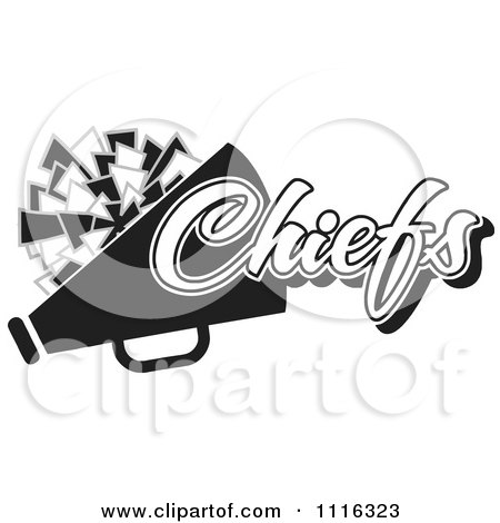 Clipart Black And White Chiefs Cheerleader Design - Royalty Free Vector Illustration by Johnny Sajem
