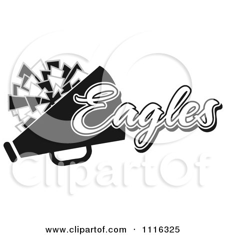 Clipart Black And White Eagles Cheerleader Design - Royalty Free Vector Illustration by Johnny Sajem